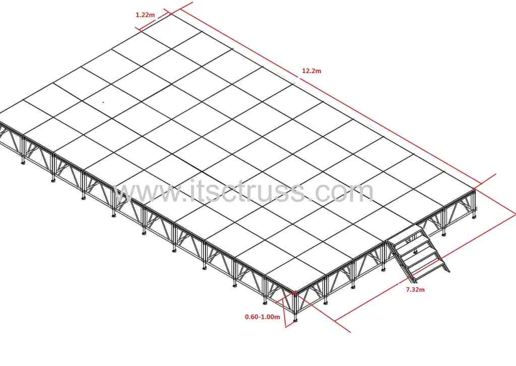 Portable Stage with  7.32m * 12.2 m *0.6-1m