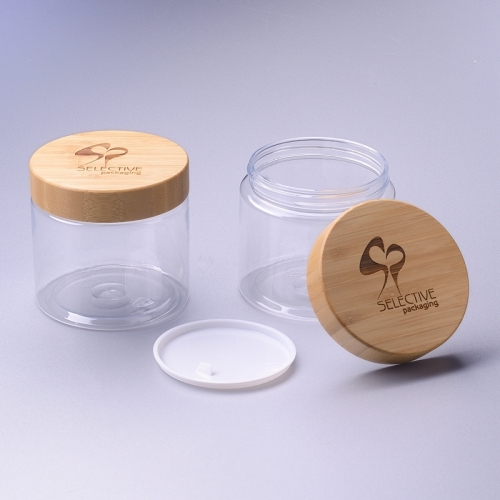 500ml pet square jar with 89/400 bamboo cap 500g round pet jar with bamboo cap
