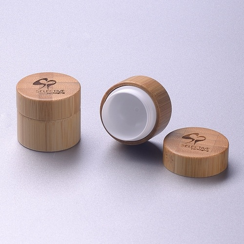 Bamboo cream 5g jar inner pp jar laser engraving on the cap
