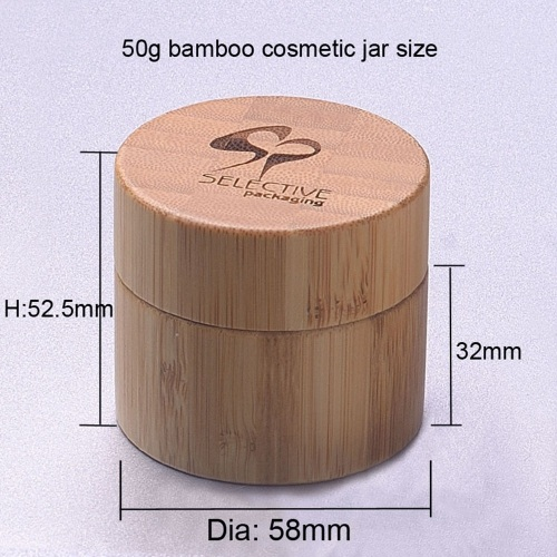 50g luxury bamboo PP plastic face cream jar cosmetic container