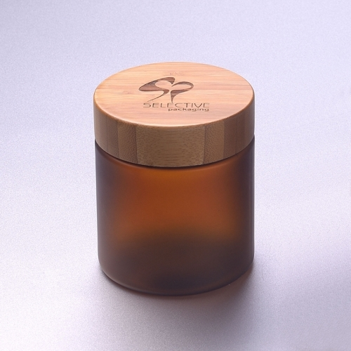 250g amber pet jar cosmetic jar with bamboo cap screw cup lid plastic jar with wooden cap