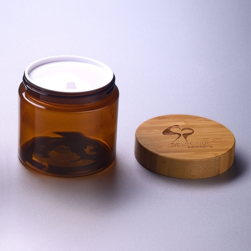 SY-ZS500-BR 89mm bamboo lid for cosmetic plastic jar 500ml empty cream jar 500g pet amber jar
