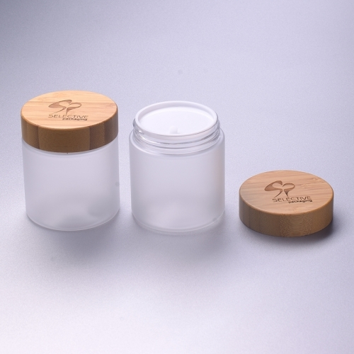 250g frosted clear pet bottle with bamboo cap