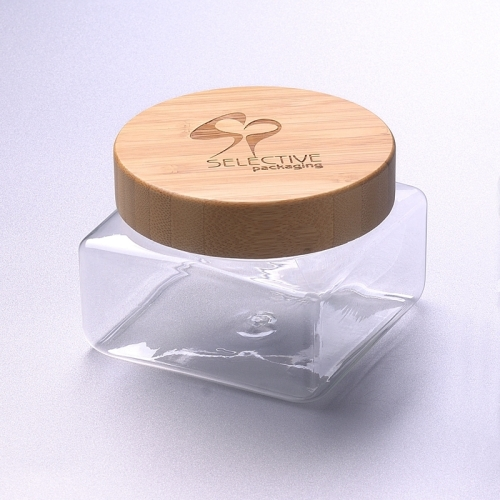 350ml square pet jar with bamboo screw cap