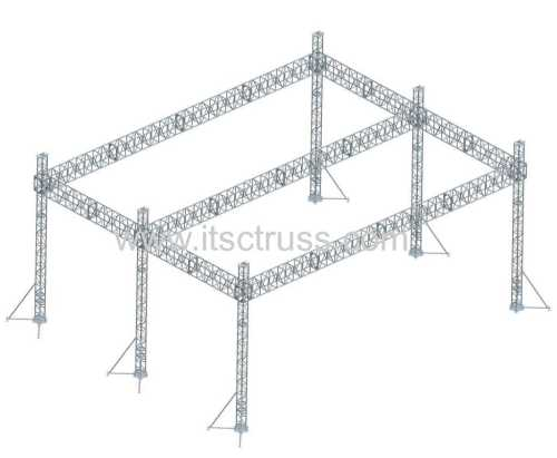 24x24x12m Giant Flat Roof 8 Tower Lighting Truss System