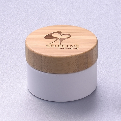 30g white pp jar with bamboo cap cosmetic cream jar eco friendly packaging
