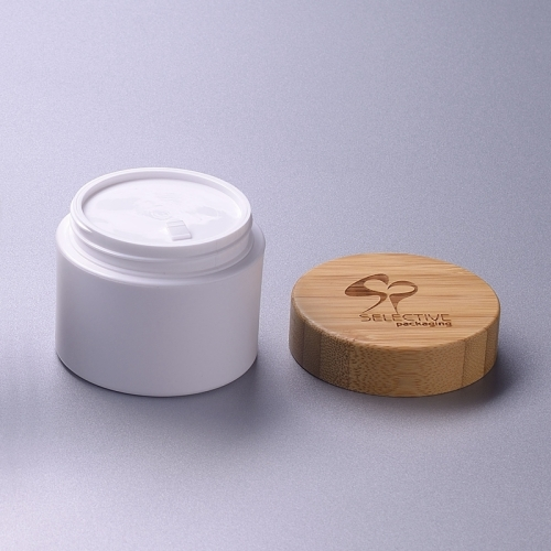 50g white pp jar with bamboo lid cream jar eco friendly cosmetic packaging