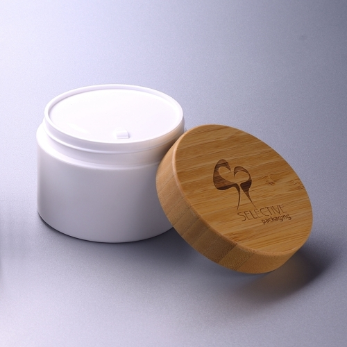 200g white pp jar with bamboo cap eco friendly cream jar cosmetic packaging