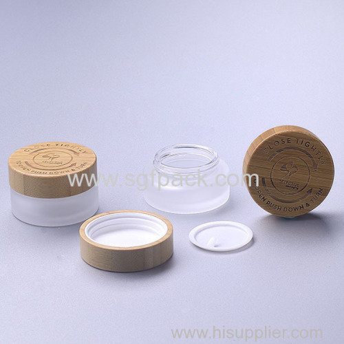 30g frosted glass jar with bamboo child resistant cap eco friendly cream jar