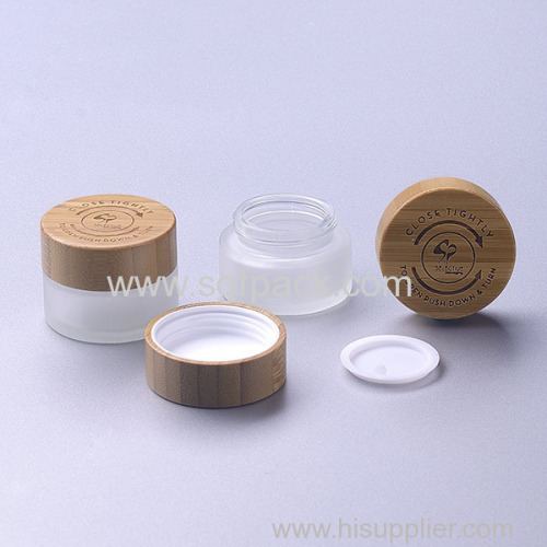 15g frosted glass jar with bamboo child resistant cap