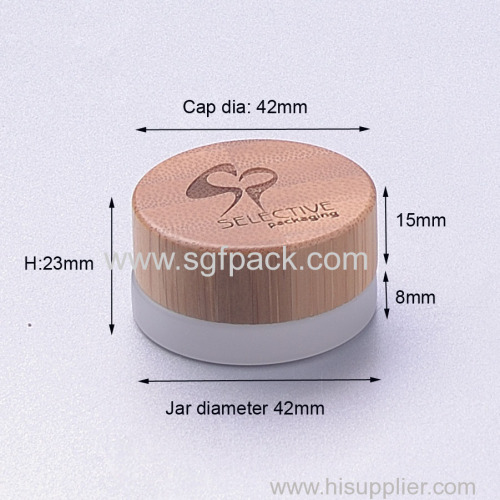 5g frosted glass jar with bamboo cap