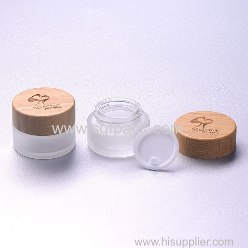 15g frosted glass jar with bamboo cap eco-friendly cosmetic cream jar