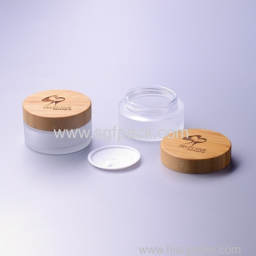100g frosted glass jar with bamboo cap eco friendly cream jar cosmetic packaging
