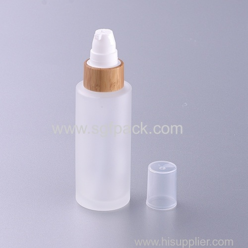 50ml frosted glass bottle with bamboo pump eco friendly cosmetic packaging