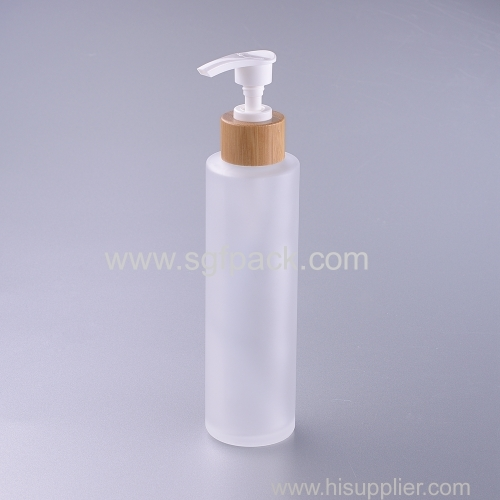 150ml frosted glass bottle with babmoo pump lotion bottle eco friengly packaging