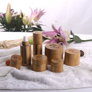 Bamboo cream jar and bottle inner glass