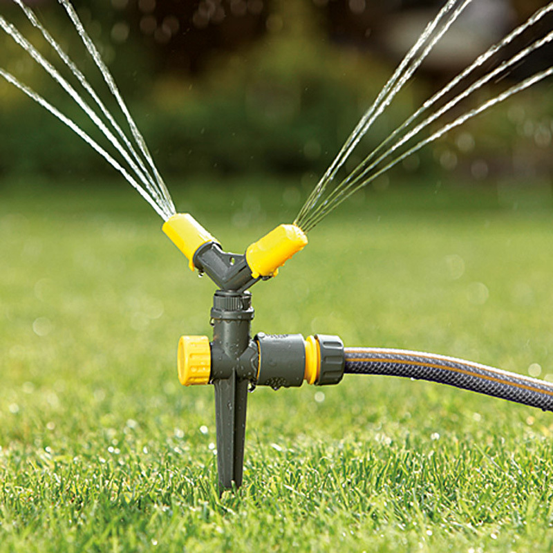 Plastic 2-arm garden water circle whirling sprinkler