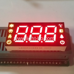 Customized Super red / yellow triple digit 7 Segment LED Display common anode for Refrigerator