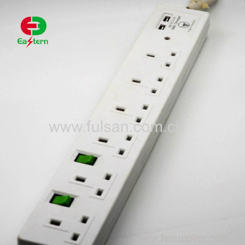 6ways UK Power Extension Socket with USB charger