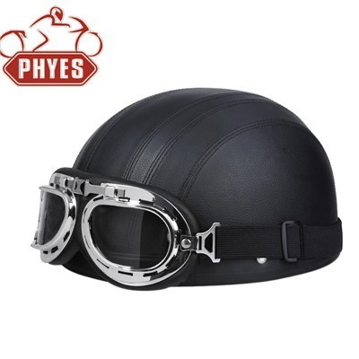 phyes black colour German Style Motorcycle Half Helmet