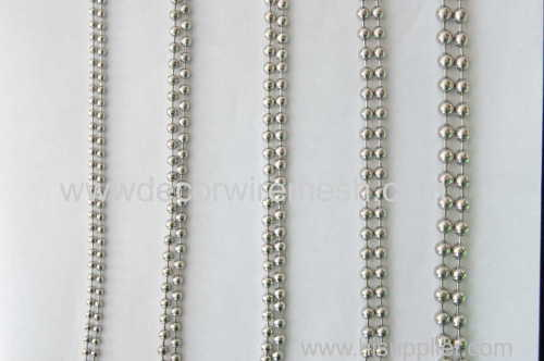 metallic bead curtain silver round chain metal bead