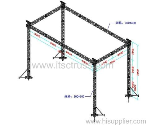 Flat roof lighting truss rigging with 4 towers