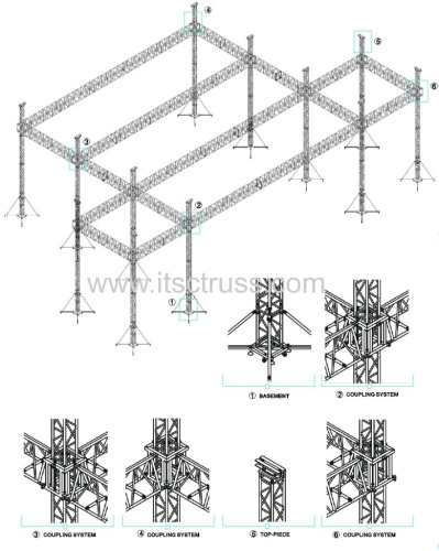 Aluminum truss rigging system flat roof with 10 towers and soundwings