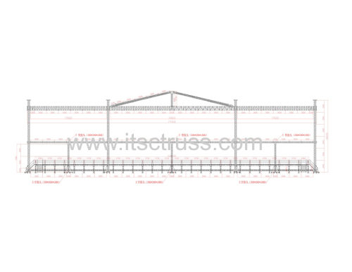 Trussing Rigging pyramid roof (19m+31m+19m) x 15m x 18m for Thailand market