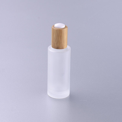 30ml frosted glass bottle with bamboo pump eco friendly cosmetic packaging lotion bottle