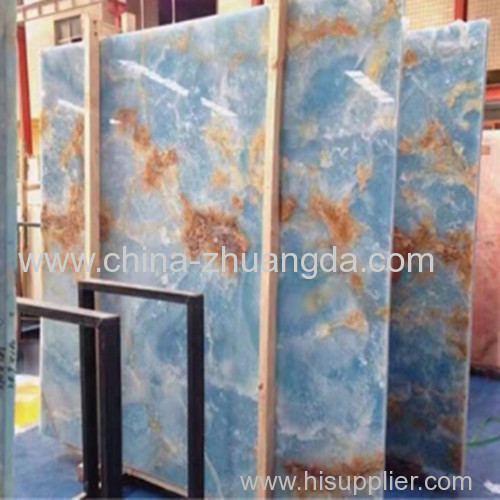 Blue onyx marble price for polished slabs and cut to size tiles J-70