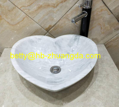 Heart Shape white marble Bianco carrara washbasin Y-048