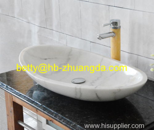 Oval shape marble wash basin Y-049 white color