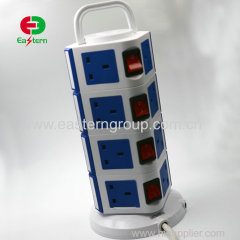 8 Ways BS Plug UK Plug Overload Protection Vertical Socket With 3 USB Ports