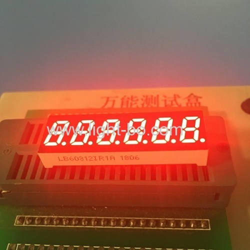 Super bright red 6 digit small size 7 segment led display common anode for temperature controller
