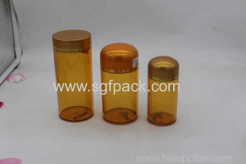 Hot sale pet bottle pet jar cream jar with gold color plastic cap