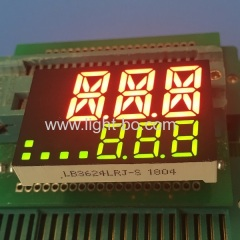Custom super red / super green two line triple digit 7 segment led display for temperature controller