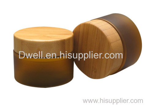 Natural Bamboo Cap with Amber Color PET Cream Jar