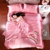 100% pure satin silk bedding set Home Textile King sizebed setbedclothesduvet cover flat sheet pillowcasesWholesale