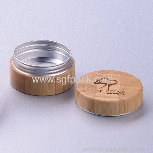 wholesale cosmetic packaging 15g 30g 50g 100g/150g/250g bamboo cream jar with aluminum inner