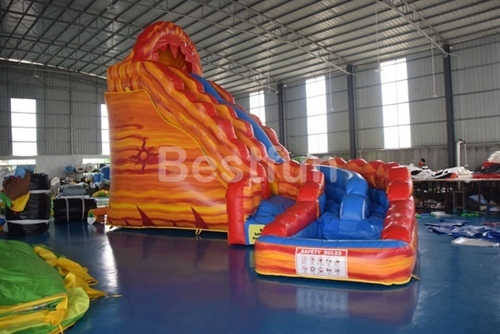 Large double lane Lava Inflatable Water Slide