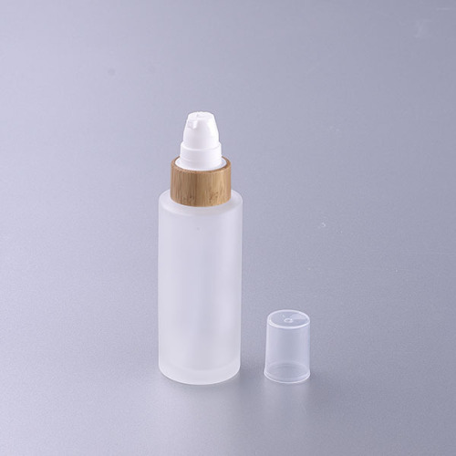 50ml frosted glass bottle with bamboo cap