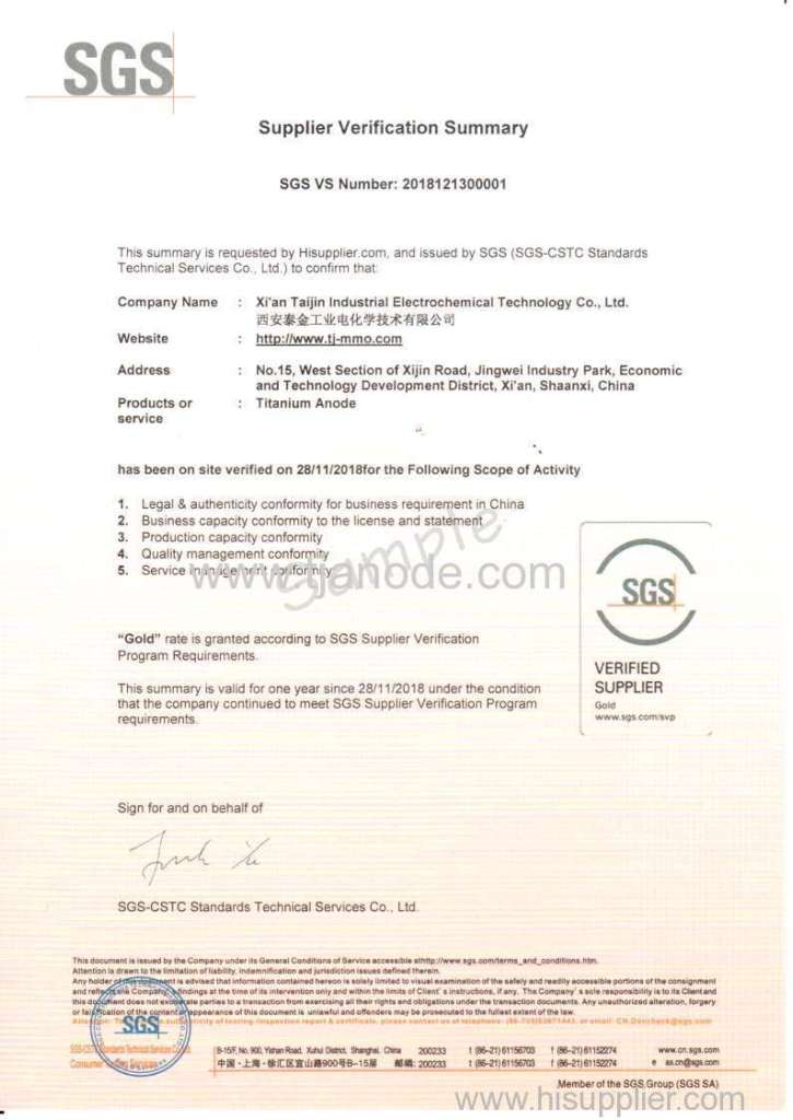 SGS Verified Supplier