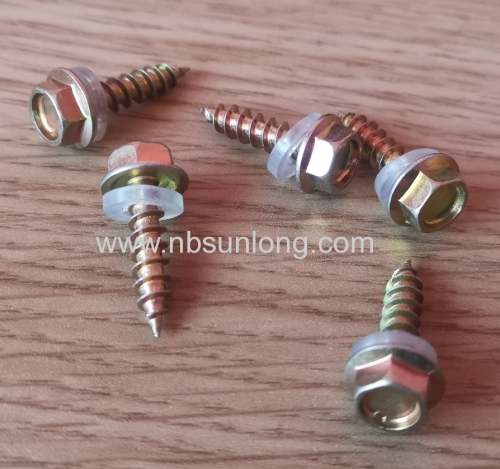 Wood screw - hex head - washer - zinc coated