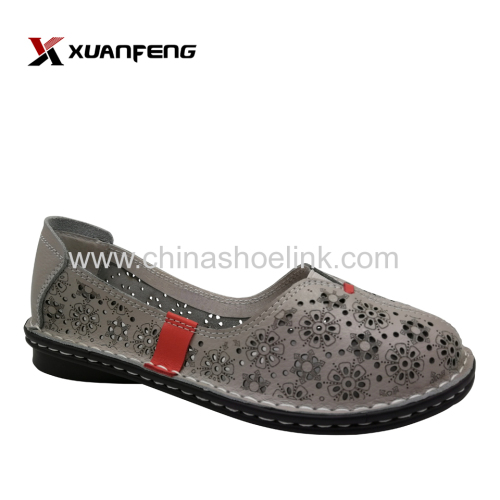 OEM Factory Summer Latest Ladies Girls Leather Flat Shoes