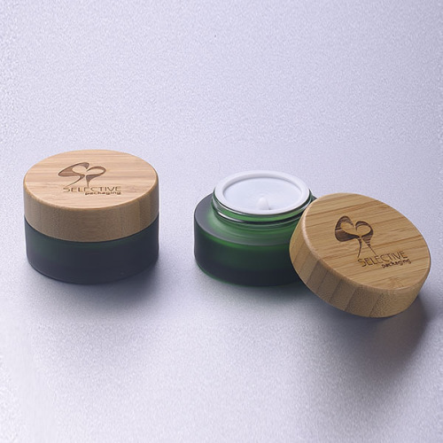 30g frosted green glass jar with bamboo lid