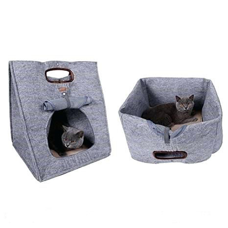Comfortable and Attractive 100% wool felt pet house pet bed carry bag for cats and dogs