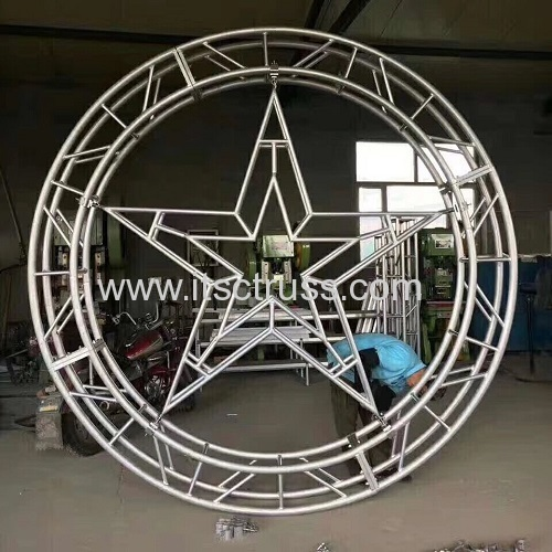 Circular Lighting truss with 290x290mm Square Truss and spigoted