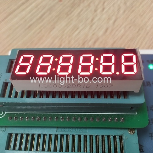 "Super bright red 0.36"" 6 digit 7 segment led clock display common anode for instrument panel"