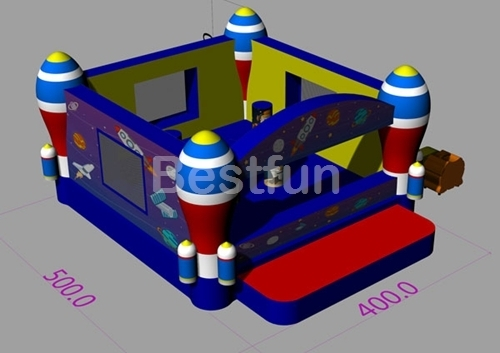 Commercial inflatable bounce house with rocket theme