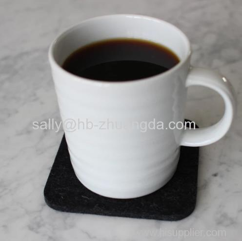 FELT COASTER cup mat MERINO WOOL CARBON BLACK SQUARE